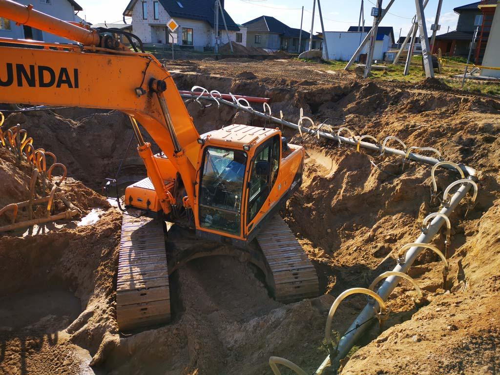 Строительство сетей канализации в д. Волма